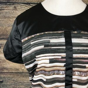 Black Striped Blouse  XL Designer Narciso